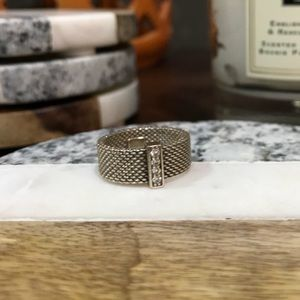 Tiffany's White Gold and Diamond Mesh Ring